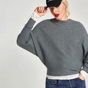 Zara Batwing Sleeve Ribbed Mock Neck Sweater